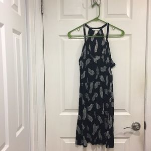 Black with white feathers, elastic waist dress
